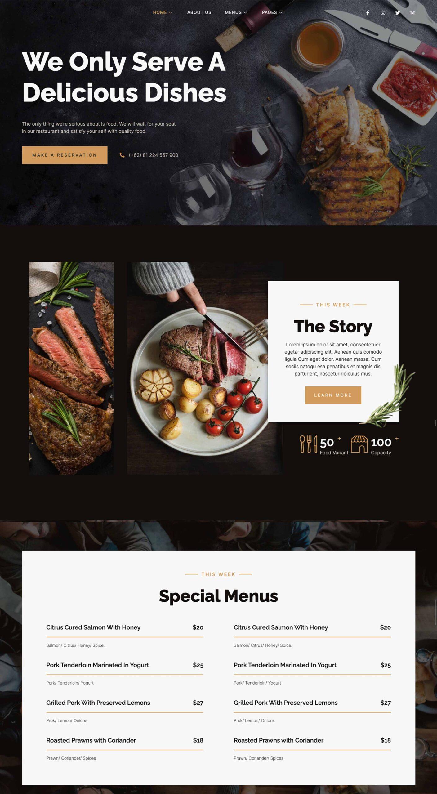 web design dark restaurant